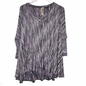 COMFY USA Top Size XS Lagenlook Oversized Stripes